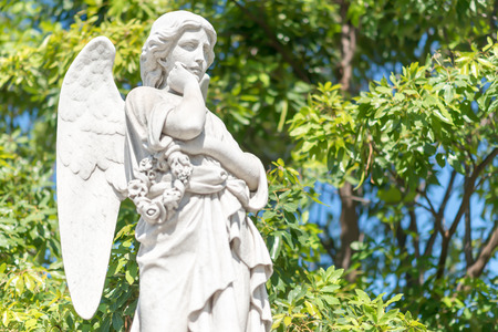 angel cemetery: Beautiful young female angel outdoors with a green trees background