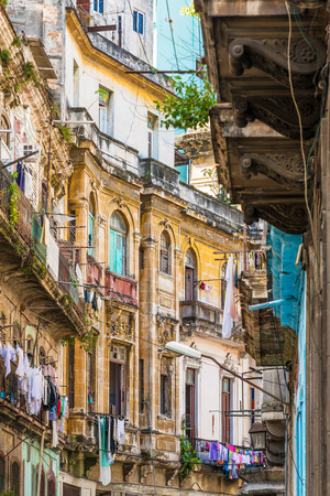 history background: Shabby crumbling buildings in Old Havana