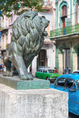 paseo: Bronze Lion at Paseo del Prado in Old Havana, a famous symbol of the city