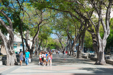 paseo: People at the famous street of Paseo del Prado in Old Havana Editorial