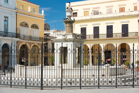vieja: Colonial architecture at Plaza Vieja in Old Havana Stock Photo