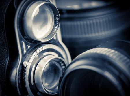 reflex: Vintage doppia fotocamera reflex e le lenti