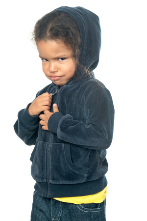 Funny small afroamerican girl wearing a hood isolated on white Stock Photo