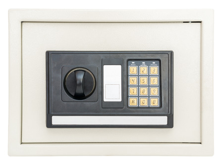 Closed electronic safe  isolated on a white background with clipping path photo