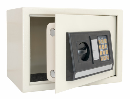 combination safe: Open electronic safe  isolated on a white background with clipping path