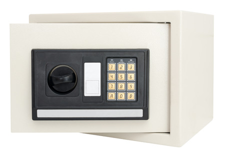Open electronic safe  isolated on a white background with clipping path photo