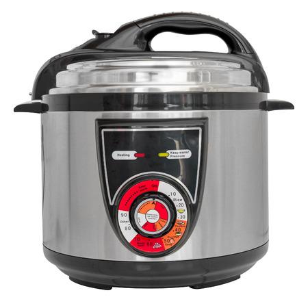 ustensiles de cuisine: Autocuiseur électrique isolé sur un fond blanc