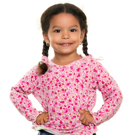 little black dress: Pretty mixed race small girl isolated on a white background