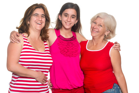 three generations of women: Three generations of hispanic women isolated on a white background