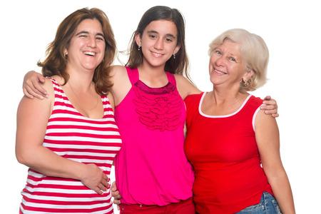 three generations of women: Three generations of hispanic women isolated on a white background