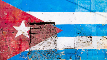 urban decay: Cuban flag painted on a grunge old wall in Havana
