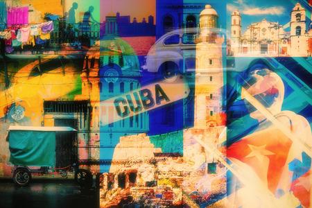 Kolorowe kolażu obrazów Hawanie na Kubie z większością swoich słynnych zabytków