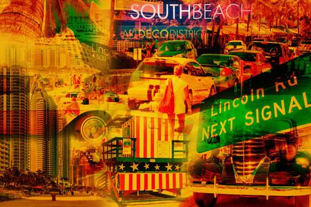 miami south beach: Colorful collage of South Beach Miami images