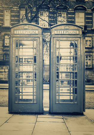 phonebooth: Vintage monochrome image of the famous phone booths in London