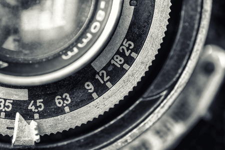 Vintage camera lens closeup Stock Photo