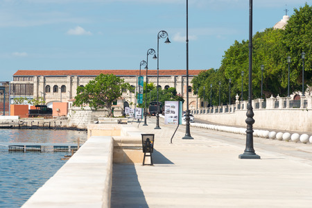 recently: View of a recently restored area in Old Havana bordering the bay Stock Photo
