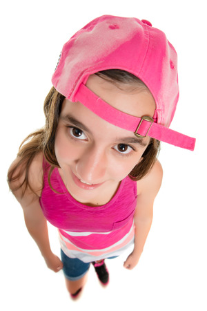 fisheye: Funny teenage girl wearing a baseball cap, fisheye portrait isolated on white