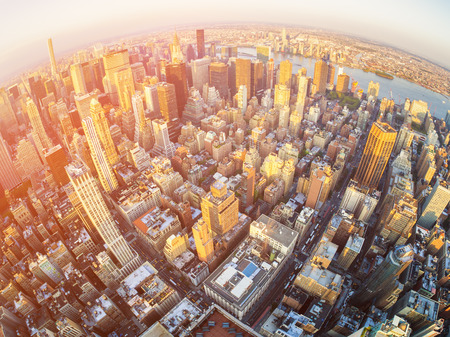 midtown: Sunset in Manhattan with an aerial view of New York