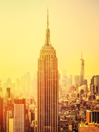 empire state building: Sunset in Manhattan with the Empire State Building on the foreground Stock Photo
