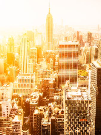 empire state building: Sunset in Manhattan with a view of the Empire State Building Stock Photo