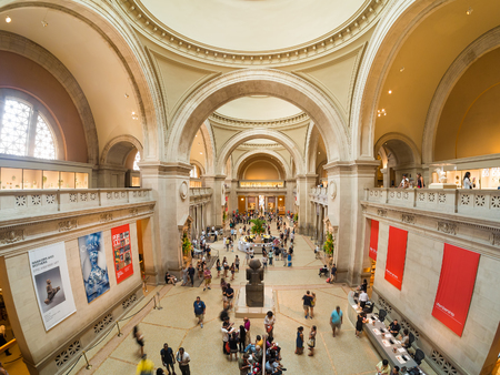 art museum: Visitors at the lobby of the Metropolitan Museum of Art in in New York Editorial