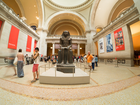 art museum: Sculpture of an egyptian pharaoh at the lobby of the Metropolitan Museum of Art in New York Editorial