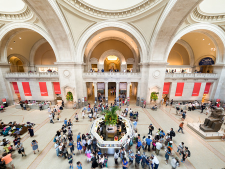 art museum: Visitors at the lobby of the Metropolitan Museum of Art  in New York