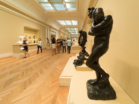 art museum: Gallery containg famous sculptures by Auguste Rodin at the Metropolitan Museum of Art in New York Editorial