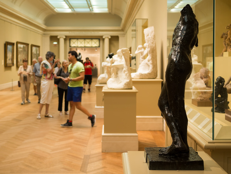 rodin: Gallery containg famous sculptures by Auguste Rodin at the Metropolitan Museum of Art in New York Editorial