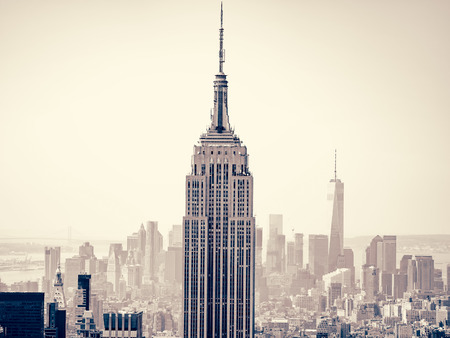 artdeco: Aerial view of New York City with the Empire State Building on the foreground
