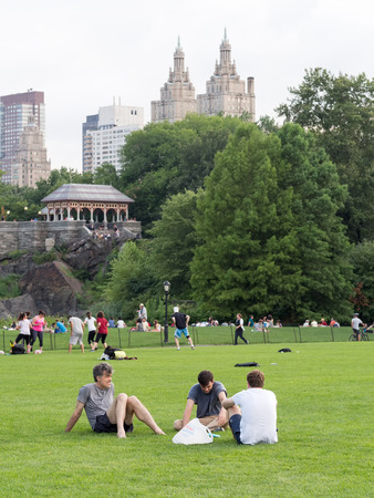 free time: People enjoying their free time at Central Park in New York