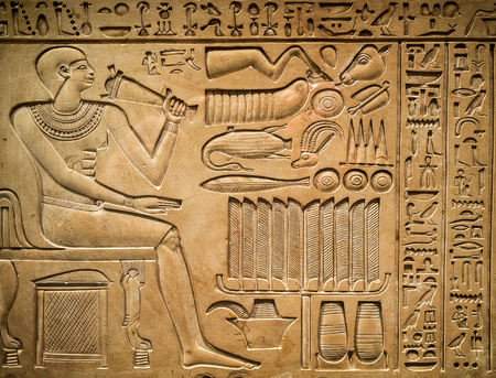 hieroglyphics: Ancient egyptian hieroglyph depicting a pharaoh, animals and signs