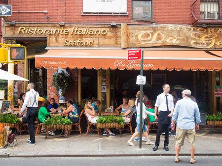 뉴욕의 역사적인 리틀 이탈리아 (Little Italy)에서 전통적인 이탈리아 레스토랑 스톡 콘텐츠 - 45213775