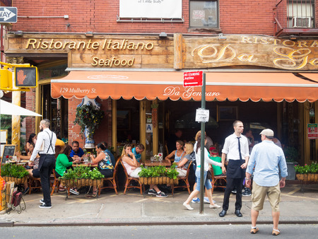 Traditional italian restaurant at historic Little Italy in New York