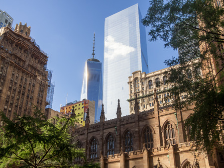 The new World Trade Center and Trinity Church in downtown New York