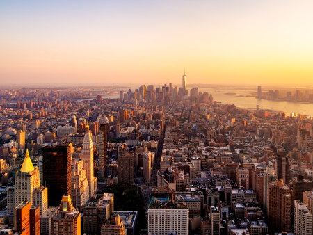new building: New York City at sunset