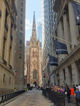 trinity: Wall Street and Trinity Church at the Financial District in New York City