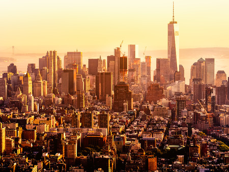 business traveller: Sunset in downtown Manhattan, New York City Stock Photo