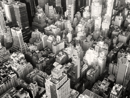 aerial view city: Black and white urban landscape of New York City