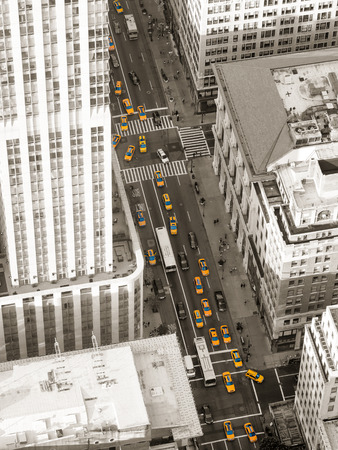 Aerial black and white view of New York City with lots of yellow cabs Stock Photo