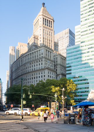 ny: Street scene with beautiful old architecture in Lower Manhattan, New York City