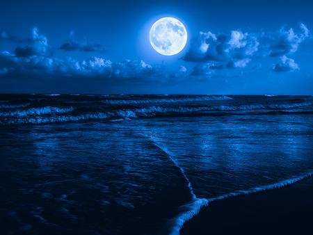 보름달이 하늘에 빛나는 자정에 비치 스톡 콘텐츠