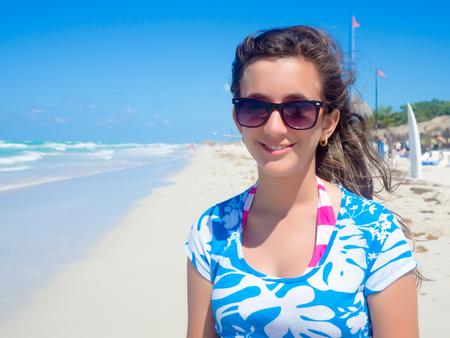 young lady: Pretty teenage girl at beautiful Varadero beach in Cuba