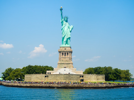 liberty island: The Statue of Liberty in New York on a beautiful summer day