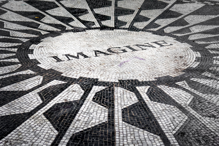 The Imagine mosaic dedicated to John Lennon at Strawberry Fields in Central Park, New York City