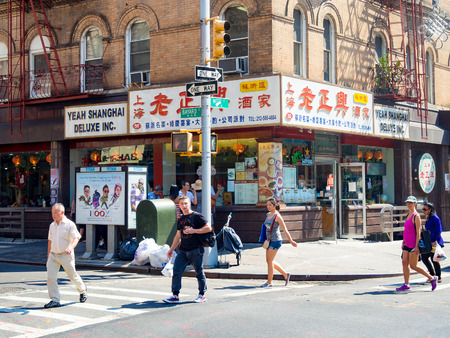 Colorful street scene at Chinatown in New York City Editorial