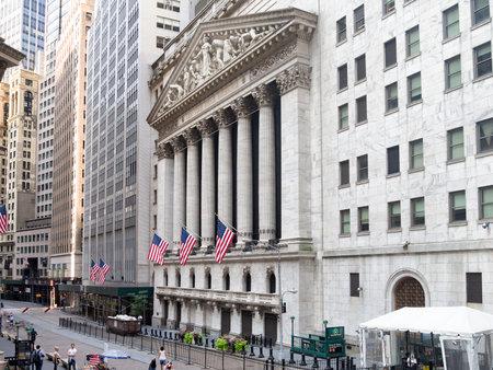 맨해튼 금융 지구에있는 뉴욕 증권 거래소