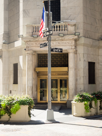 new york stock exchange: Entrance to the New York Stock Exchange in Manhattan Financial District Editorial