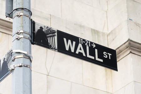 nyse: Street sign at Wall Street in Manhattan Financial District in New York City Editorial