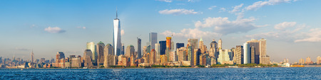High resolution panoramic view of the downtown Manhattan skyline in New York City